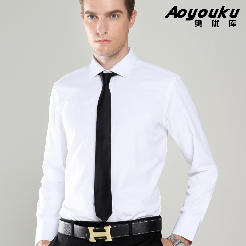 2015 New Fashion Mens Dress Shirts High Quality Men Business Shirt Long  Sleeve White and Black Blusa masculina Plus Size Blouse-in Dress Shirts  from Men s ... 1da0e53b410
