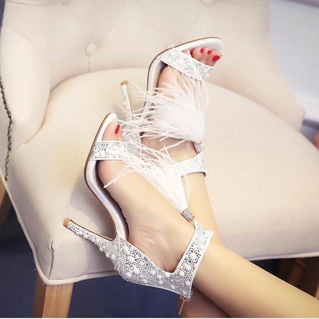 Genuine Leather Women Sandals Pumps Summer Brand Fur Rhinestone Feather High Heel White Women Wedding Pumps Shoes Plus Size 36