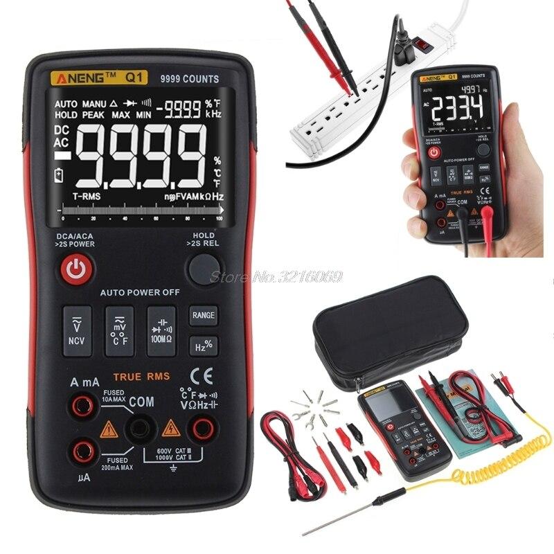 Q1 True-RMS цифровой мультиметр автоматическая кнопка 9999 отсчетов с аналоговым барным графиком AC/DC Напряжение Амперметр Ток Ом Транзистор тесте...