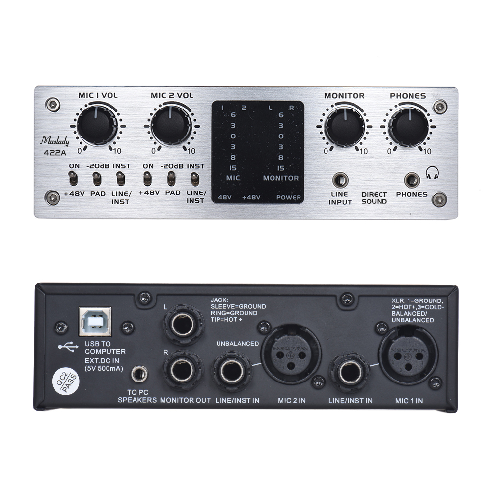 4 Channel Audio System Interface External Sound Card 48V phantom power DC 5V Power Supply for