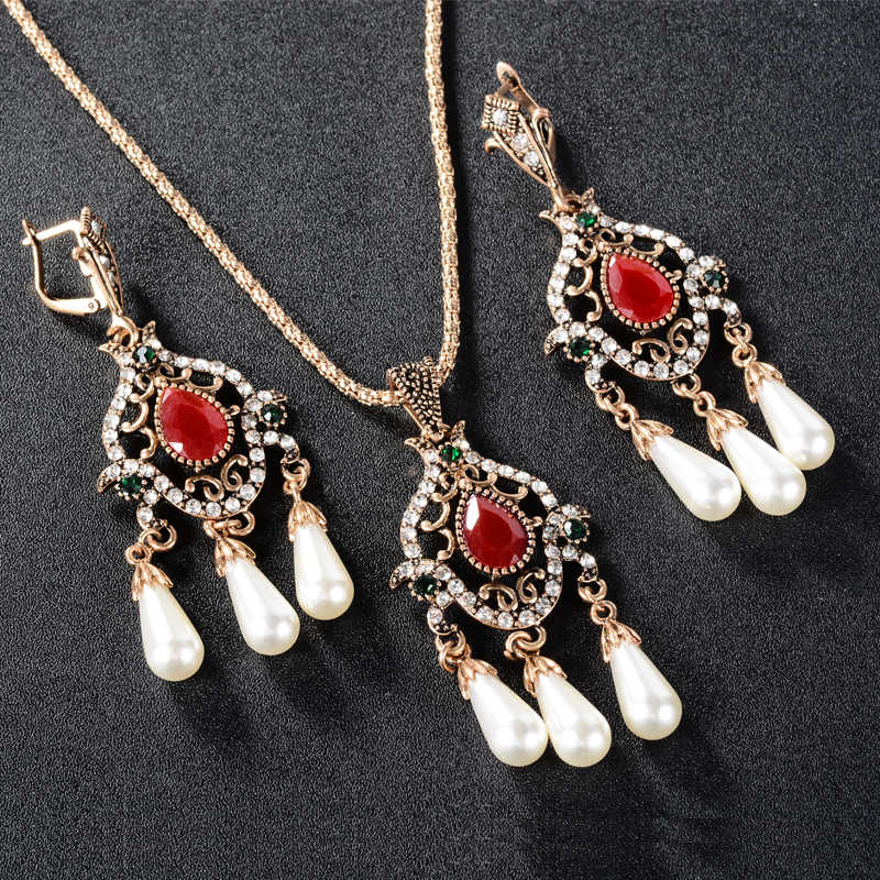 Turkish Jewelry Mosaic Green Red Top Resin Crystal Tibetan Silver Wedding Necklace and Earing Pearl Set Girls Necklaces Pendants