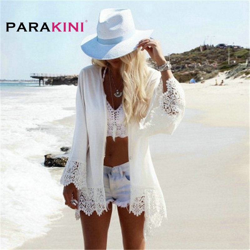 PARAKINI White Lace Crochet Beach Tunic Women Beach Wear 2018 V Neck Long Sleeve Bikini Cover Ups Hollow Out Mini Beach Dress 2
