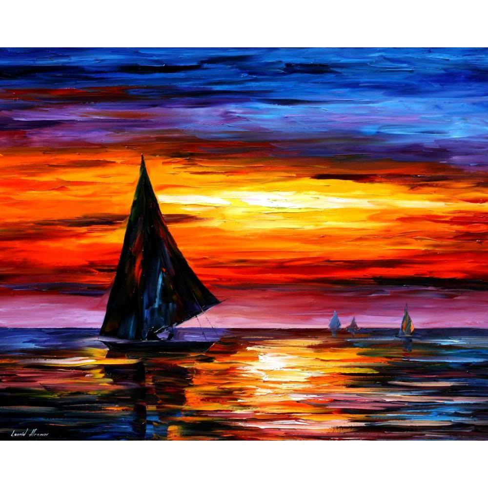 US $73.15 23% di SCONTO|Paesaggi marini dipinti Moderni con spatola a olio  di arte su Tela di Canapa di distanza dal tramonto A Mano di alta ...
