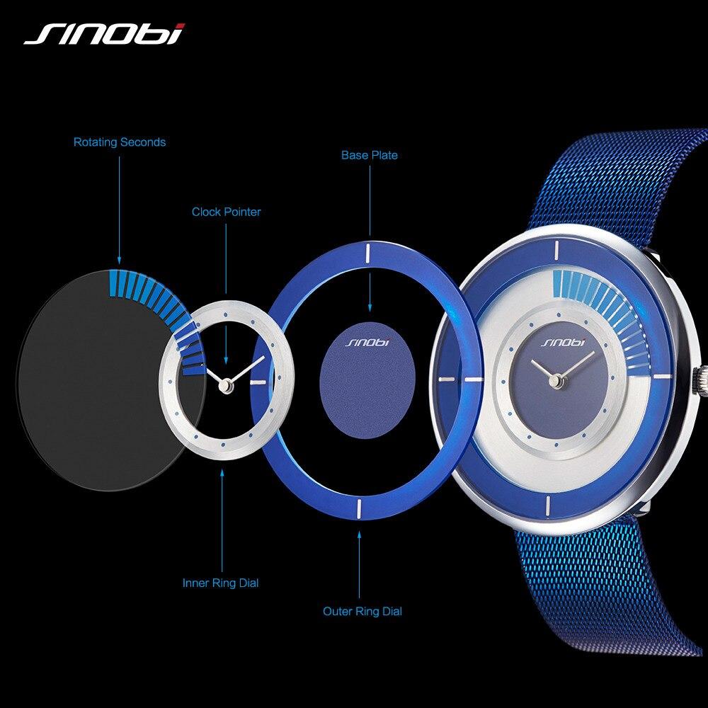 Sinobi Creative Mens Watches Top Brand Luxury Ultra Thin Stainless Steel Mesh Band Quartz Wrist Watches Men Male Clock Saat 2017