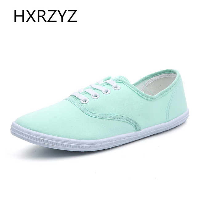 Spring and summer candy color with comfortable women canvas shoes/simple College style of female students large size flat shoes