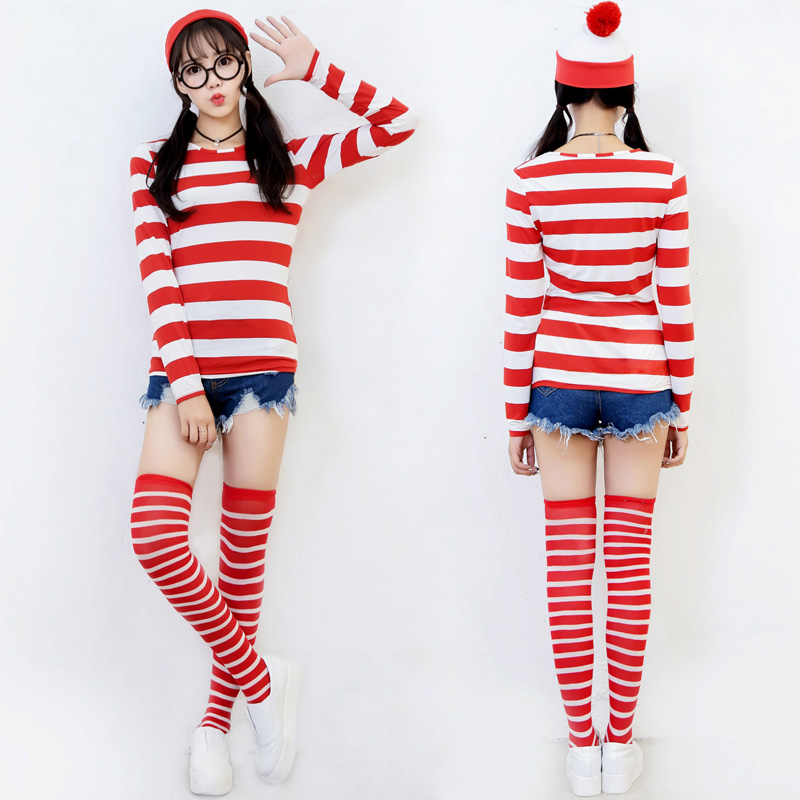 Ladies Red White Stripe Wally Costume Party Fancy Dress Book Day Adult Outfit