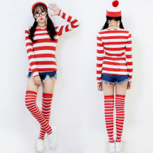 Anime Wally Outfit Ladies World Book Day Week Wenda Waldo Character Fancy Dress Shirt Hat Glasses Stockings Costume
