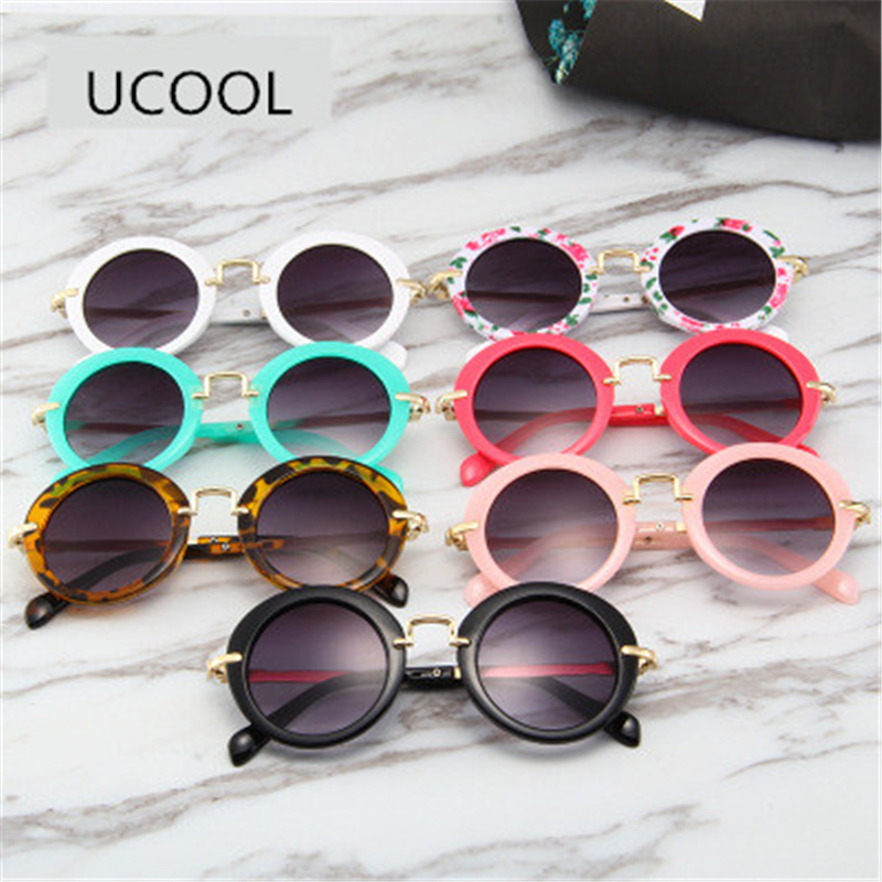 UCOOL 7 Colors Fashion Round Cute Kids Sunglasses Brand Boys Grils Sun glasses Vintage children glasses Gift Oculos De Sol Ga