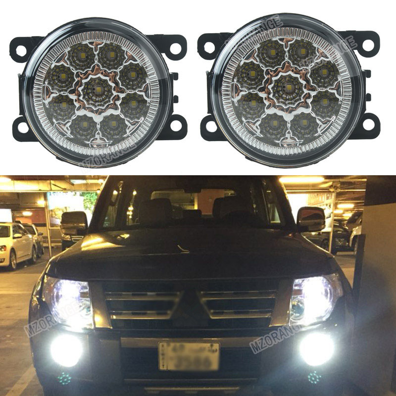 Car-styling 6000K 12V DRL Fog Lamps Lighting LED Lights 9W /1 SET For Mitsubishi L200 OUTLANDER 2 PAJERO 4 GALANT Grandis for mitsubishi l200 outlander 2 pajero 4 grandis 2003 2015 car styling angel eyes drl led fog lights 9cm spotlight ocb lens