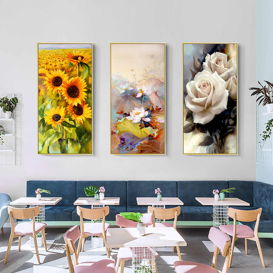 Sunflower Poster Abstract Oil Painting Hand Painted Lotus Canvas Painting Prints White Rose Wall Pictures for Living Room Decor