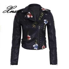 Spring Autumn Flowers Embroidery Pu Leather Jacket Women Turn-down Collar Rivet Zipper Black Biker Coats Tops Clothes studded embroidery pu biker jacket