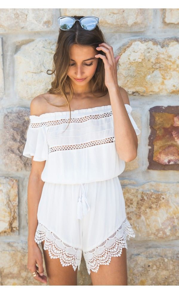 Womens Sexy Off Shoulder Short Sleeve Playsuit Fashion New Ladies Summer Beach Lace Hollow Out Casual Loose Jumpsuit