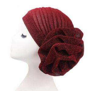 Image 2 - Muslim Women Turban India Beanie Hat Flower Stretch Arab Hat Head Scarf Wrap Cap Jersey Cover Bonnet Glitter Headwear Fashion