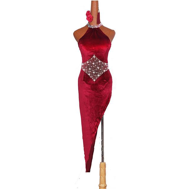 Latin Dancing Dresses For Ladies Burgundy Elegant Fringe Skirt Women Stage Ballroom