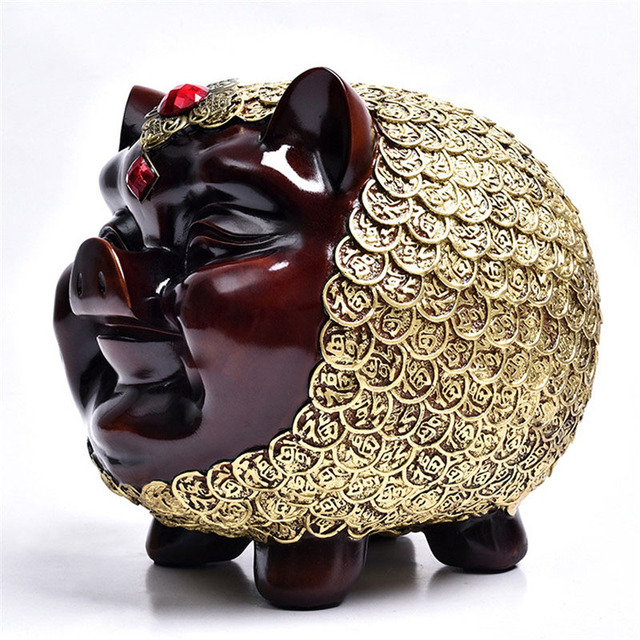 Modern Resina Porco Estátua Estátua Em Miniatura Do Bebê Banco Poupar Dinheiro Moeda Piggy Caixa de Dinheiro do Presente de Aniversário Para Casa Acessórios de Decoração