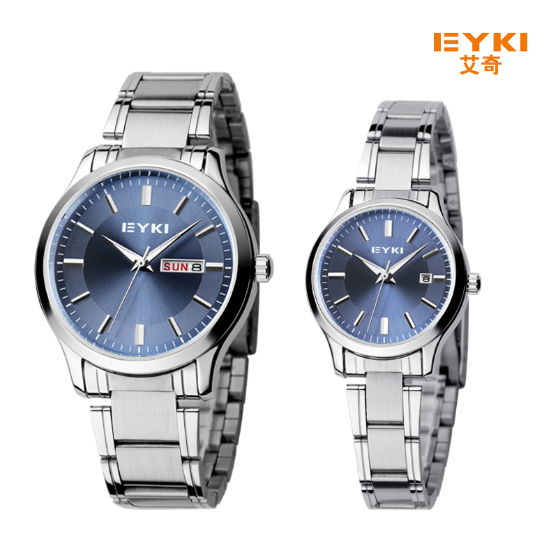 2017 New Eyki Men Women Business Couple Watch Stainless Steel Wrist Watches Luxury Brand Lovers Watch with Calendar montre femme new eyki brand couple watches tables fashion formal stainless steel strap waterproof quartz watch ladies watch men s watches