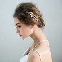 Gold Color Plant Design Hair Combs Beads Headpiece Ornaments Bridal Wedding Party Headdress Hairpin Handmade Hairwear