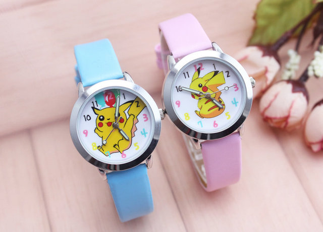 new arrived classic fashion cartoon Pikachu lovely leather gift wristwatches stu