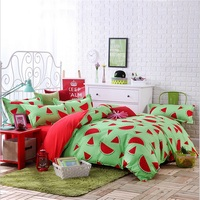 Hot Sale 3 4PCS Fruit Watermelon Lemon Pear Bedding Set King Queen Full Twin Size Flat