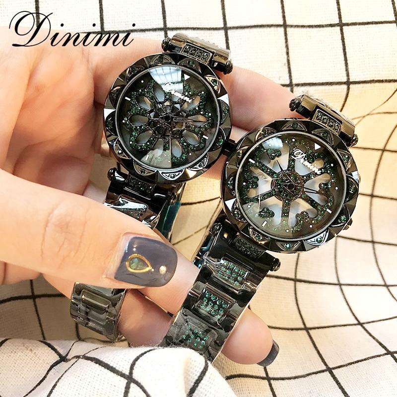 Dimini mode femmes montres diamant de luxe dame montre Quartz montre bracelet en acier inoxydable or dames montres cadeaux livraison directe-in Montres femme from Montres    1