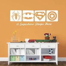 Spiderman Batman Captain America Super Hero Wall Sticker Vinyl Art Design Kids Bedroom Poster Mural Baby Boys Decals Decor W32