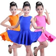 bad5f26b18043 Vestido de baile latino estándar de manga corta para niñas vestidos de baile  de salón para niños Salsa Rumba Cha Samba Tango ves.