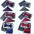 17 cor Xadrez vermelho de seda conjunto laço dos homens caixa Casamento