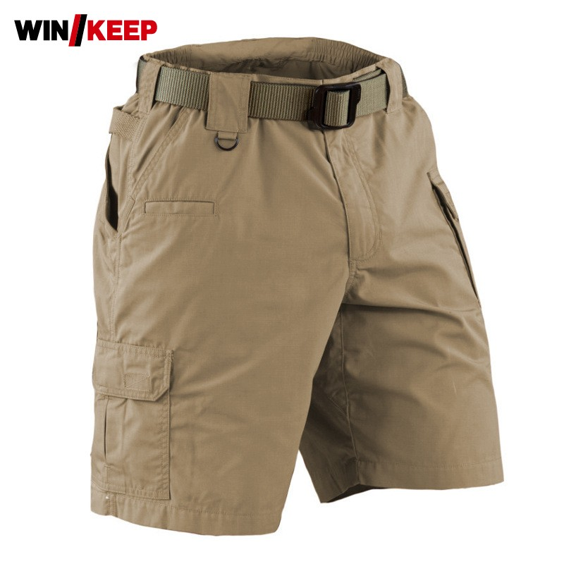 Outdoor Tactical Summer Shorts Knee Length Trousers Male Special Forces Loose Training Multi-pockets Overalls Man Hiking Shorts