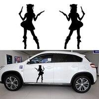 58 センチ × 38.33 センチ 2 ×女の子海賊銃を持っ た (各側に 1 つ)車の ステッカー車用ドア サイド トラック ウィンドウ ビニール デ カール 8