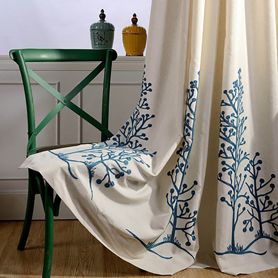 Garden Fresh Windows Cotton Embroidered Curtains Fabric For Bedroom Living Room Idyllic Village Linen Curtains Window QQL130