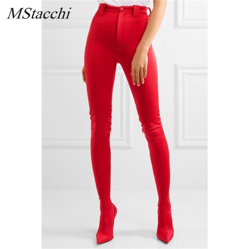 Mstacchi Sexy Female Europe Fashion Boots Cuts Women's Large Size Shoes Stiletto Heel Elastic Sock Boots Two In One Pants Boots