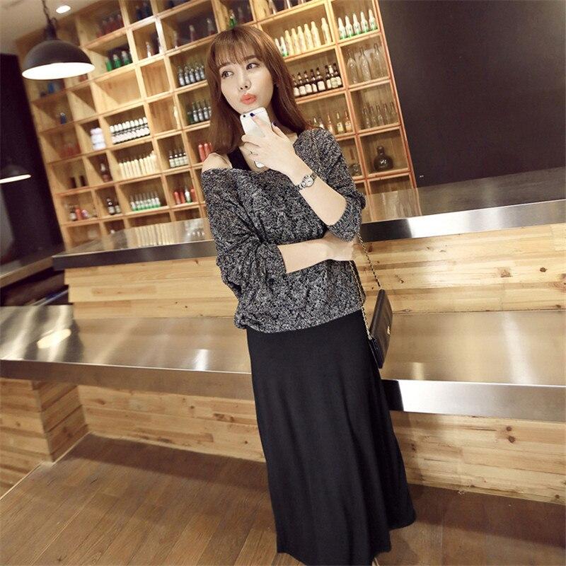 New Deisgn Two Piece Set Dress Women Autumn 2016 Korean Vestidos Maxi Dresses Roupa Feminina Sundress Long Sleeve sweater Sets