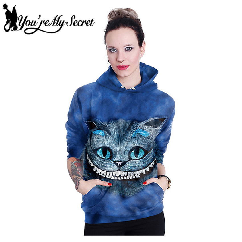 [You're My Secret] New Fashion Sudaderas Mujer Wonderland Alice Cartoon Cat 3d Print Women's Casual Hooded Hoodies Sweatshirts