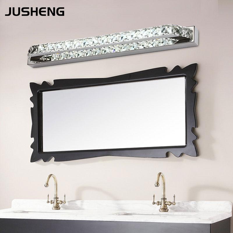 jusheng luxurious crystal bathroom wall light 18w led mirror light fixtures indoor 68cm long 100