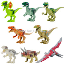 8pcs lot Jurrassic World Legoingly Jurassic Dinosaur Figure Set For Kids Animal font b Building b