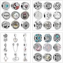 Простой стиль, большой шар, звезды, хрустальные цветы, сделай сам, бисер, подходит для оригинала Pandora, талисманы, серебряный браслет, безделушка, ювелирные изделия для женщин, подарки