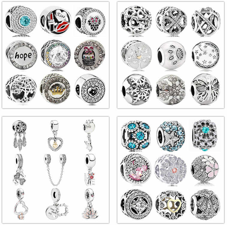 Simple Style Big Ball Stars Crystal Flowers diy bead fit Original Pandora charms silver Bracelet trinket jewelry for women Gifts