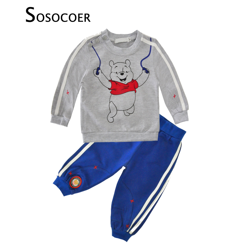 SOSOCOER Baby Boy Clothing Sets Spring Autumn Cartoon Bear T Shirt+Pants 2pcs Sport Boys Clothes High Quality Kids Clothing Set