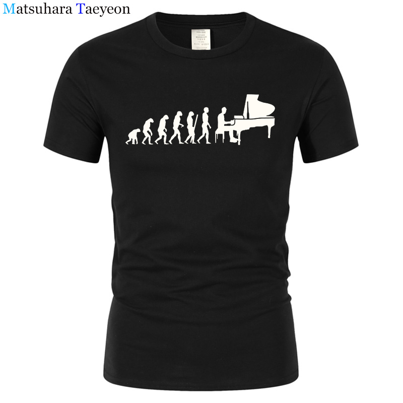 Evolution Pianist Piano T Shirt Men Male Summer Short Sleeve Thanksgiving Musician Men's T-Shirts clothing Casual tshirt t165 image