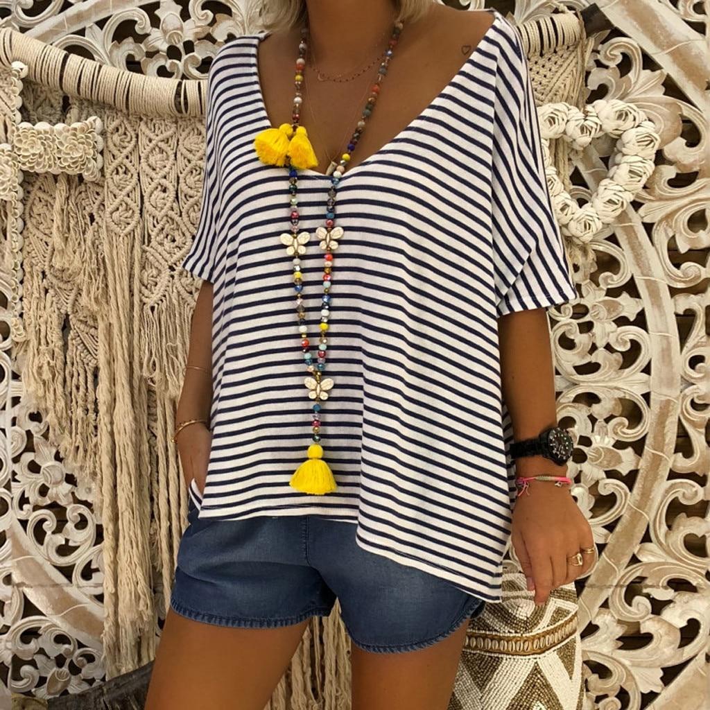Plus Size Summer Fashion Batwing Striped   Blous   V Neck Ladies Top Female Women Short Sleeve   Shirt   Blusas Femininas Women Clothing