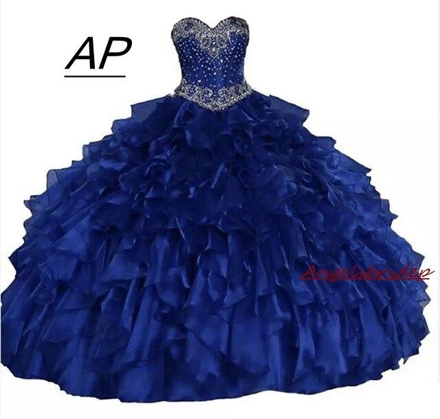 2021 Real wie Bild Schatz Ballkleid Quinceanera Kleider Glitzernde Kristalle Gefrieste Rüschen Lace Up Süße 16 Prinzessin Kleid