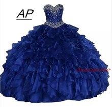 2021 real como imagem querida vestido de baile quinceanera vestidos brilhantes cristais beadings babados rendas até doce 16 vestido de princesa