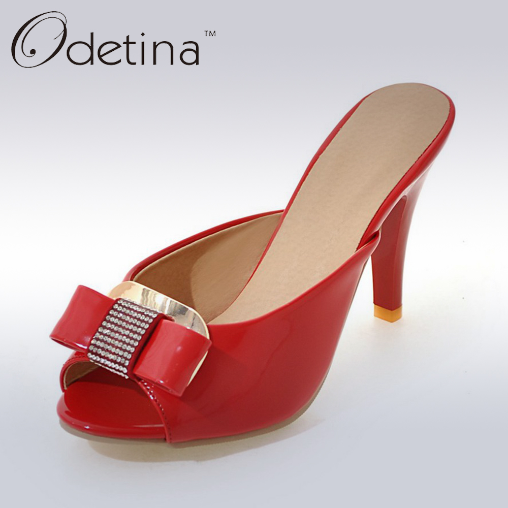 Odetina 2017 New Plus Size 32-43 Summer Women Sexy Open Toe High Heels Slingback Pumps Prom Shoes Mules Sexy Talon Haut Femme odetina 2017 new woman slingback flats hollow out slip on flat shoes flower half slippers mules d ete pour femme plus size 32 43
