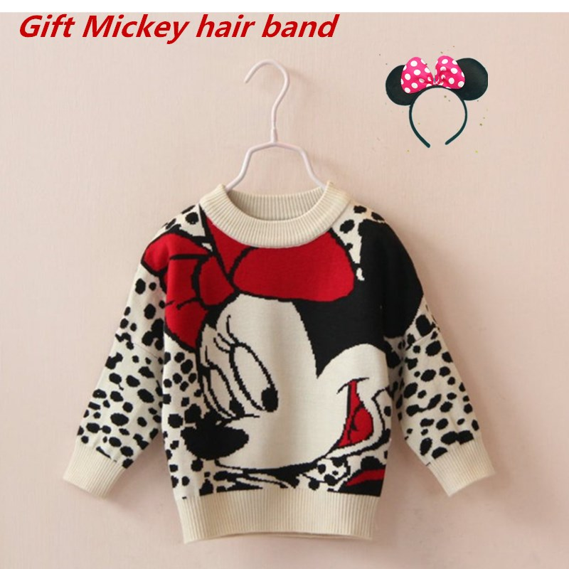 Mickey Sweater Baby Girls Clothes Mickey Mouse Long Sleeve Sweater Autumn Winter Girl Sweater Sweater Round Neck Bottoming Shirt snowflake long sweater
