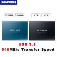 100% samsung T5 портативный SSD 250 ГБ 500 1 ТБ 2 ТБ USB3.1 Внешние накопители USB 3,1 Gen2 и обратная совместимость с USB для ПК