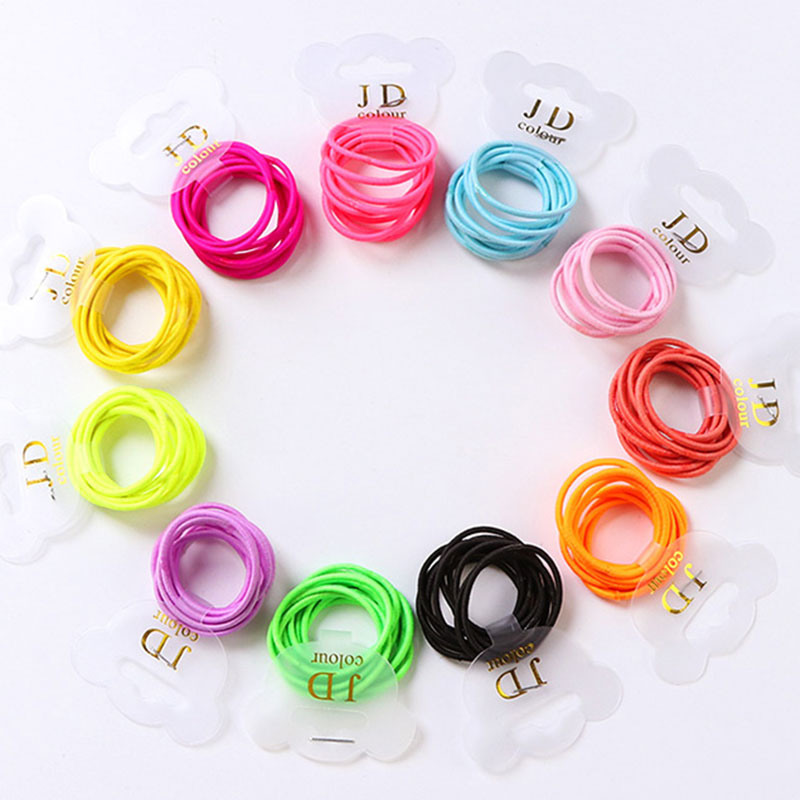 High Quality 10PCS/Lot Children Small Elastic Hair Band Candy Color Solid Headband For Girls Hair Hoder Hair Accessories Tie Gum
