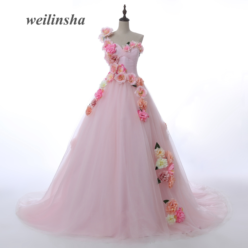 Weilinsha Wedding Ball Gown 2017 Hand Made Flower Newest