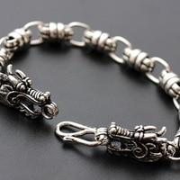 Norfolk court jewelry wholesale authentic S925 Sterling Silver Bracelet men's Retro double tap the rough silver bracelet