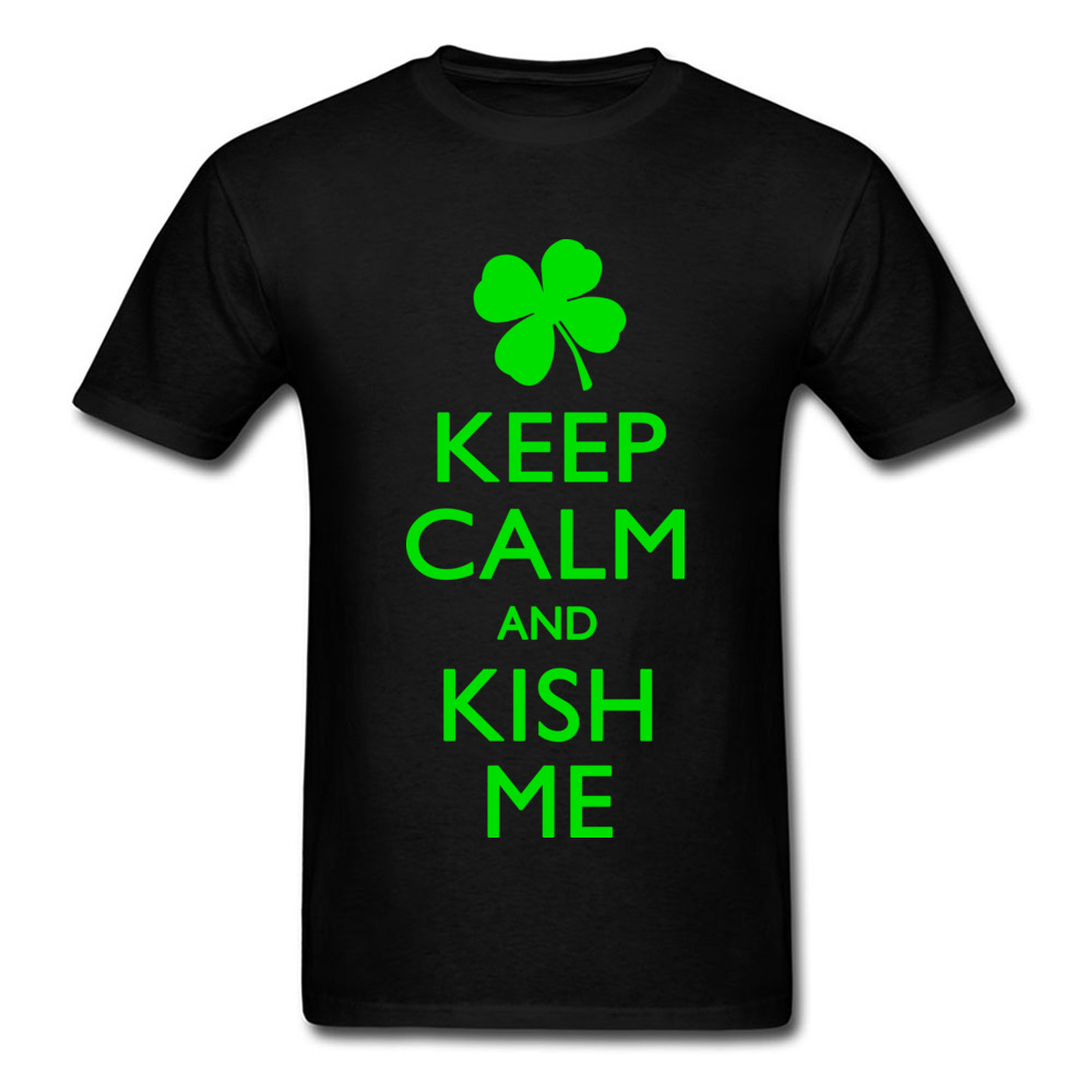 Keep Calm And Kish Me 100% Cotton O-Neck T Shirt Men Short Sleeve Group Irish Tee-Shirts Lucky Leaves Green Print Text T-Shrit image