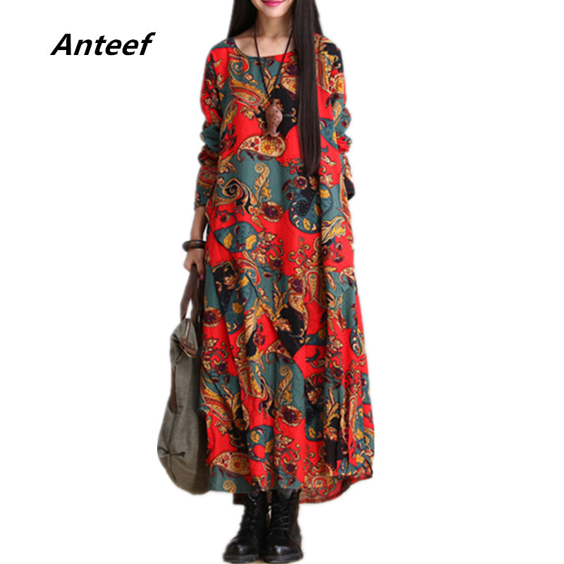 Fashion Autumn Style Cotton Linen Vintage Print Plus Size Women Casual Loose Long Dress Party